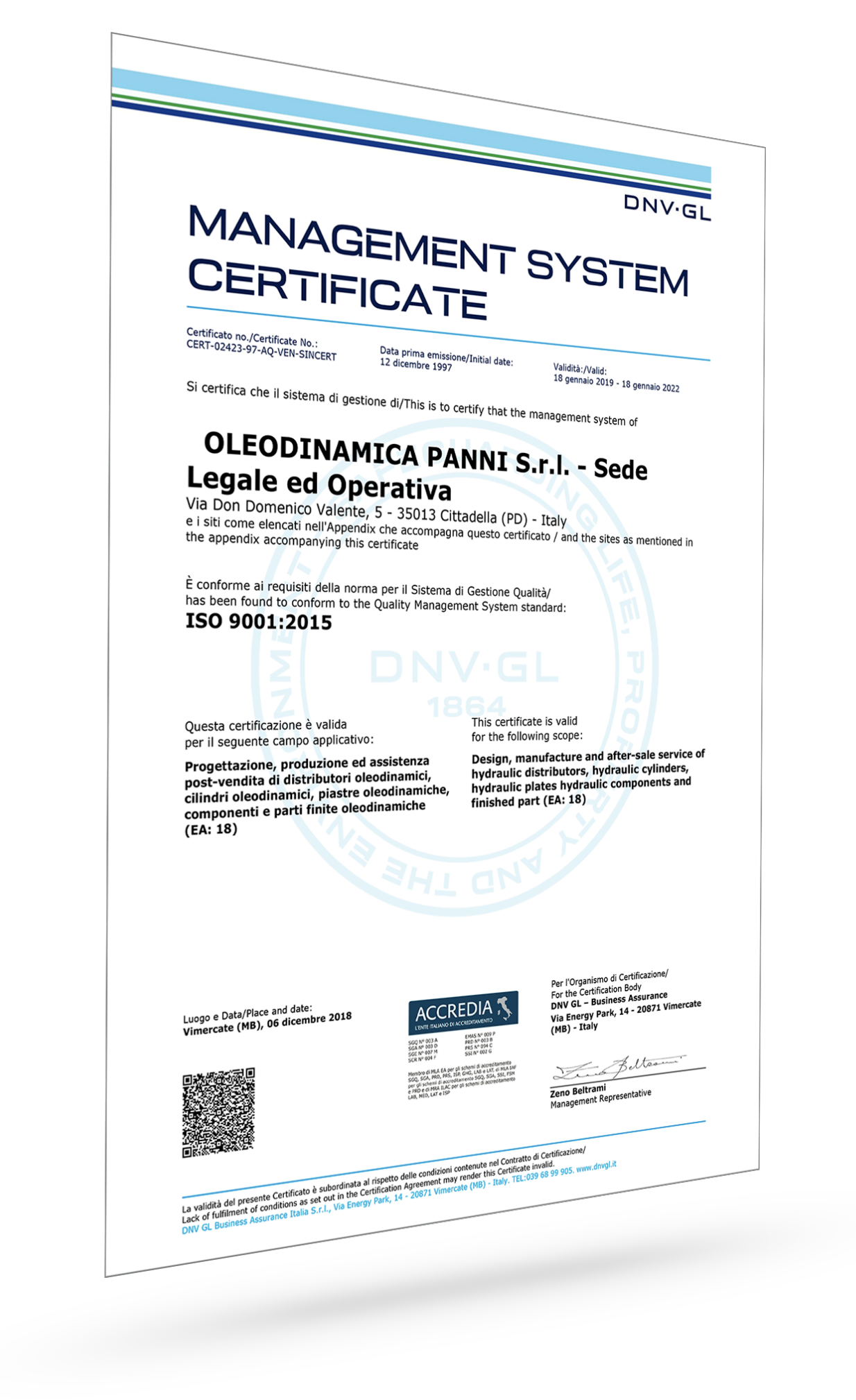 Produzione di cilindri certificata